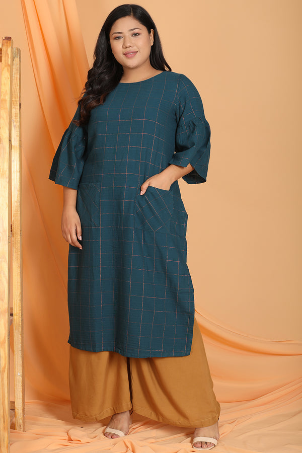 Teal Golden Check Pocket Detail Kurti
