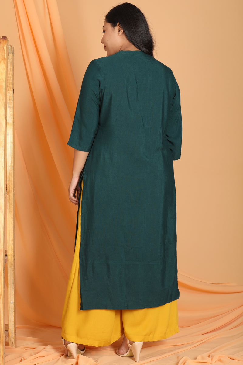 Emerald Green Mandarin Collar Front Open Kurti