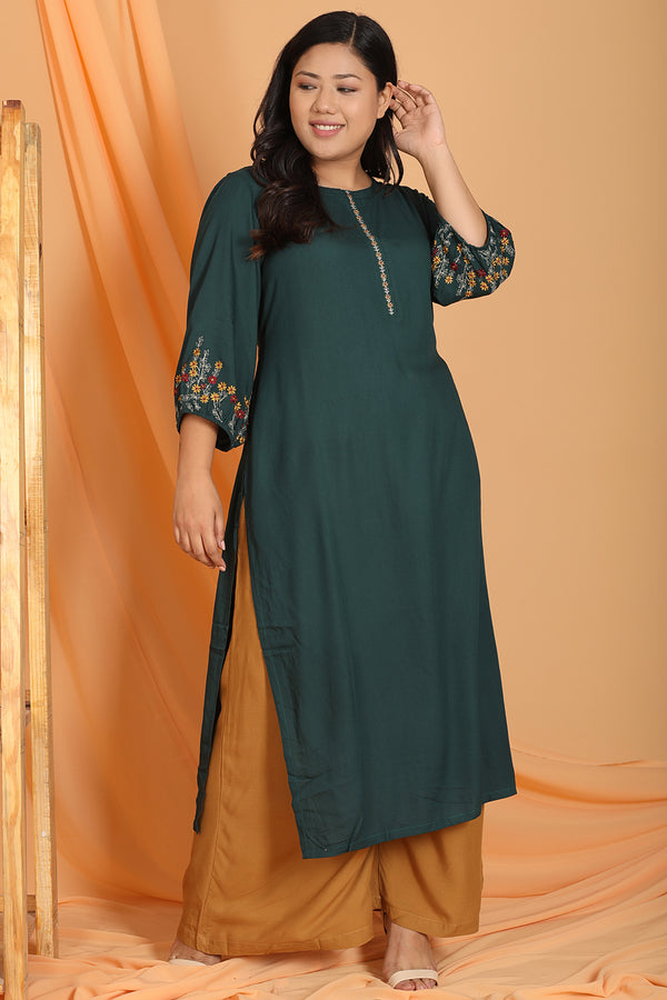 Emerald Embroidered Sleeve Kurti