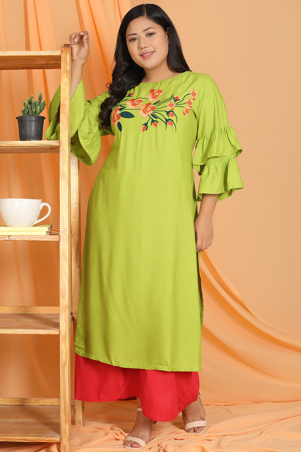 Parrot Green Floral Embroidery Frill Sleeve Kurti