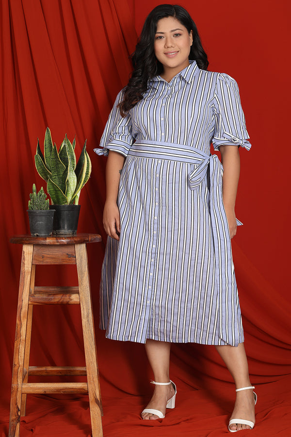 Blue White Stripe Tie Detail Dress