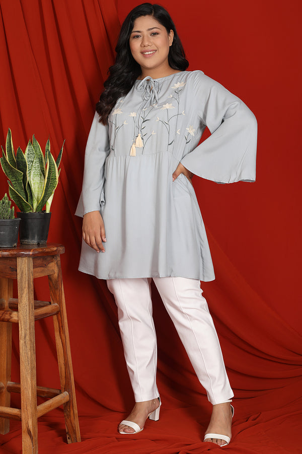 Ice Blue Embroidery Detail Tunic