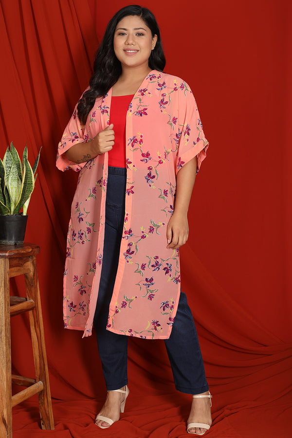 Peach Floral Print Drop Sleeve Duster