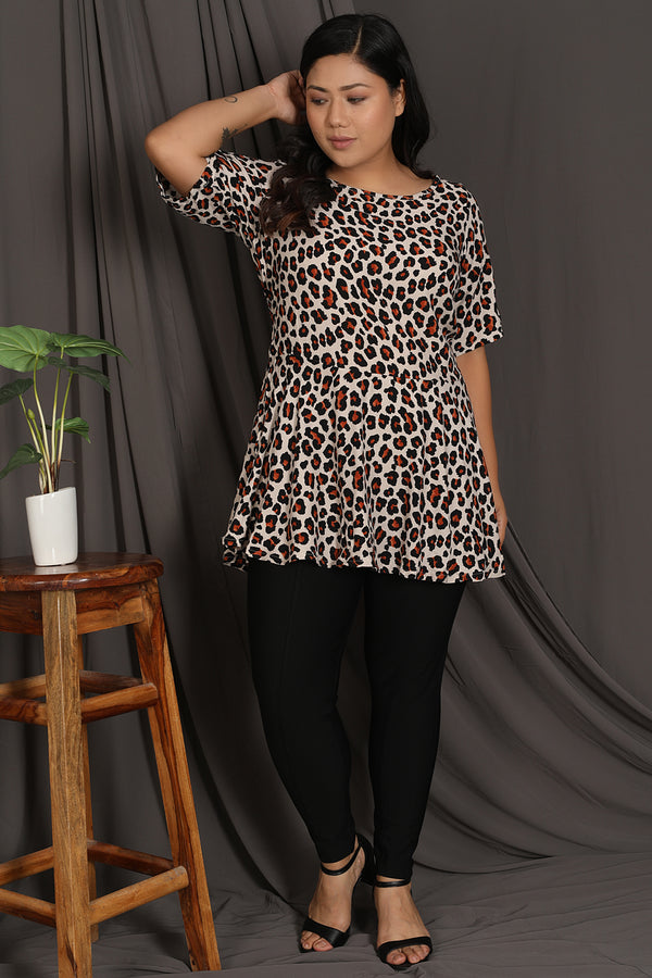 Tiger Print Peplum Top