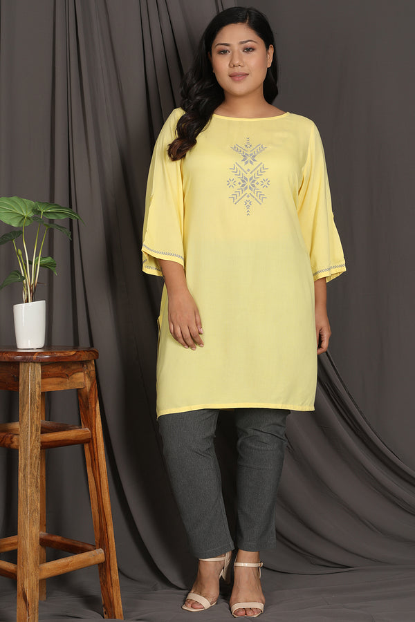 Yellow Embroidery Detail Short Kurti