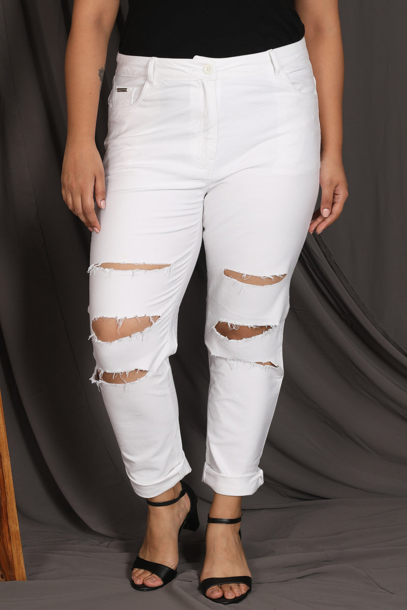 White Distressed Stretch Pants
