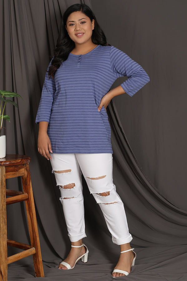 Blue Stripe Detail Tshirt