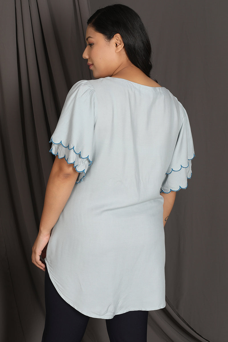 Ice Blue Bird Embroidery Layer Sleeve Top