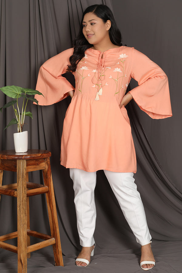Peach Embroidery Detail Tunic