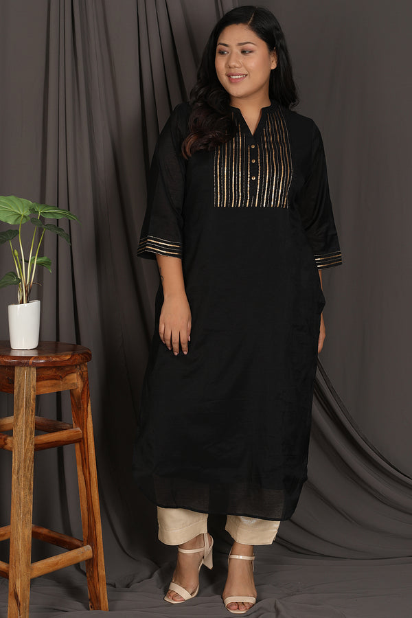 Black Embellished Yoke Chanderi Kurti