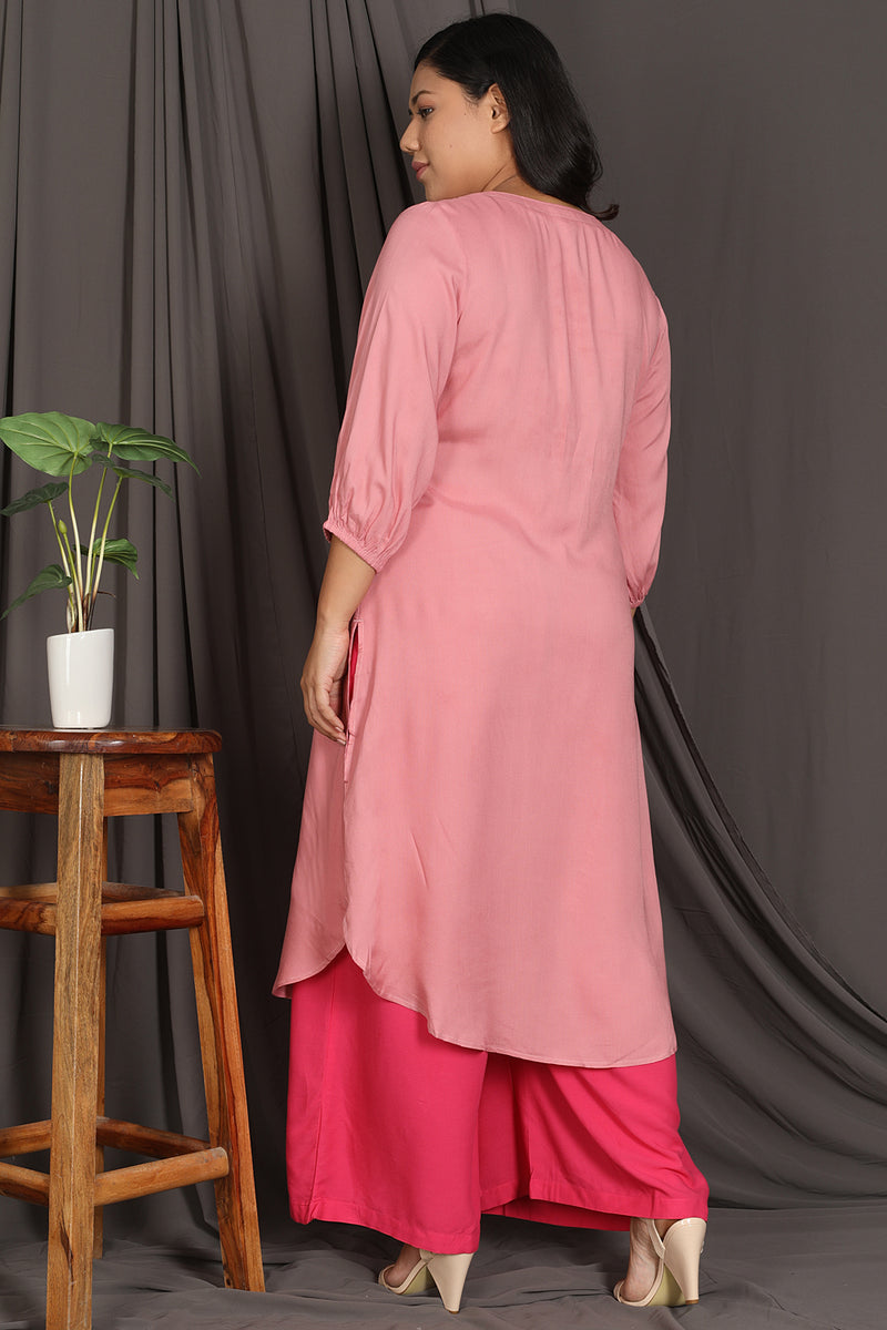 Apricot Yoke Embrodiered Kurta