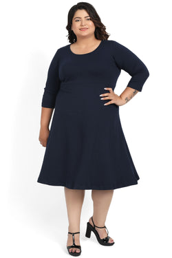 Navy Back Cutout Dress
