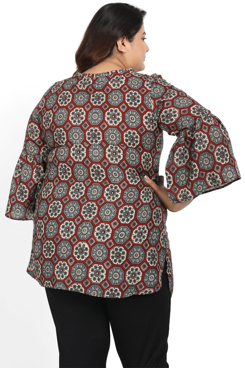 Maroon Printed Mandarin Collar Tie Neck Top