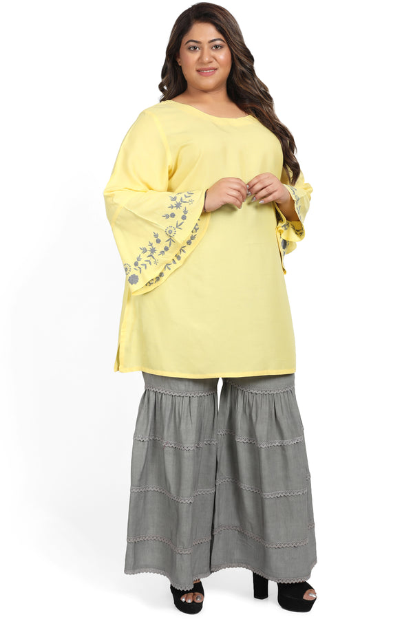 Yellow Grey Embroidery Bell Sleeve Short Kurta