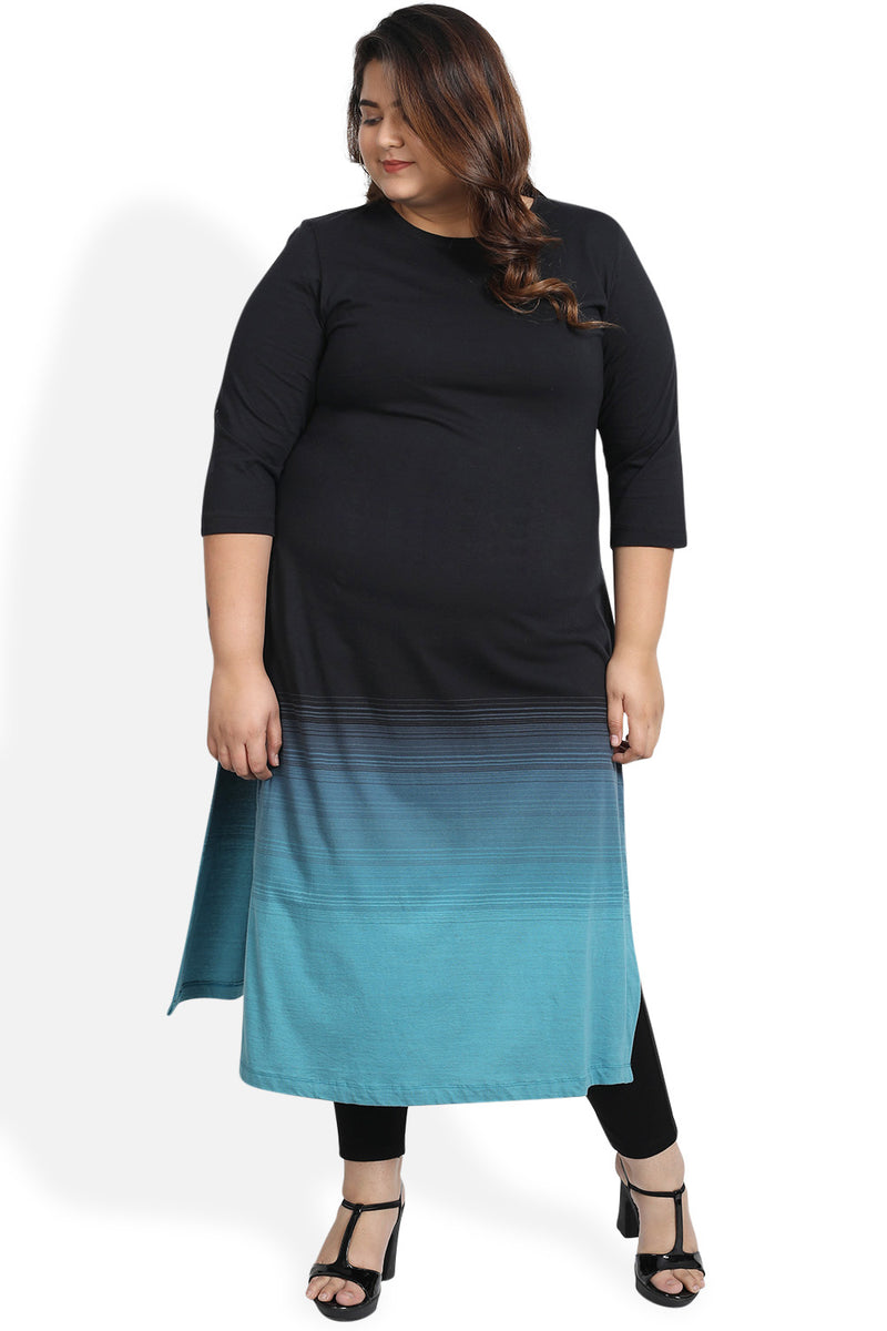 Black Teal Ombre Knitted Kurti
