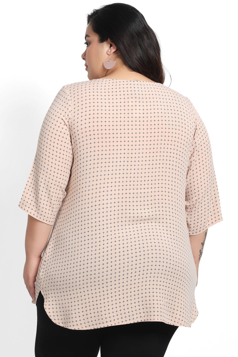 Beige Print Centre Pleat Top