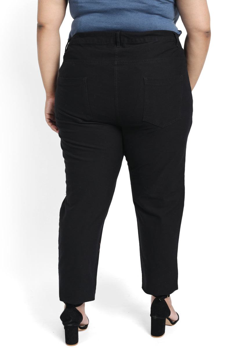 Black Knee Slit Stretch Pants