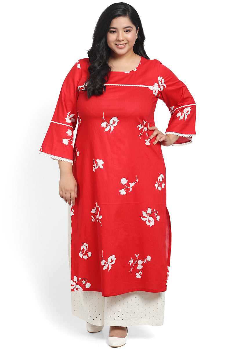 Red White Printed Frill Sleeve Kurti