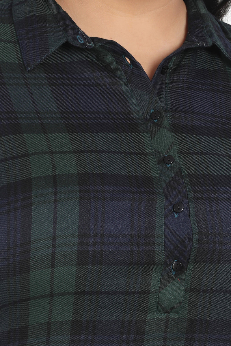 Green Navy Check Longline Shirt