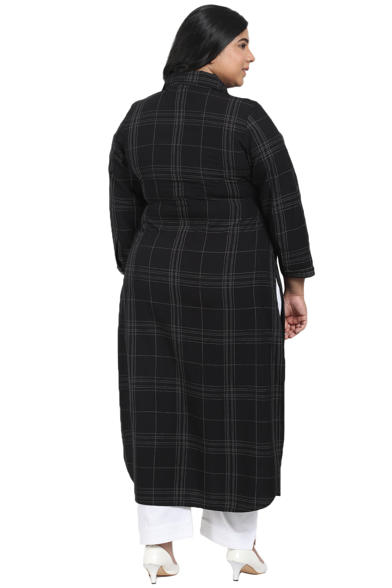 Black Check Roll Up Sleeve Round Hemline Kurti