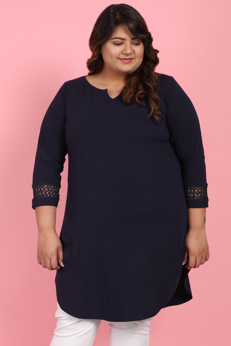 Navy Lace Detail Tunic