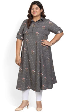 Grey Floral Print Full Length Dress