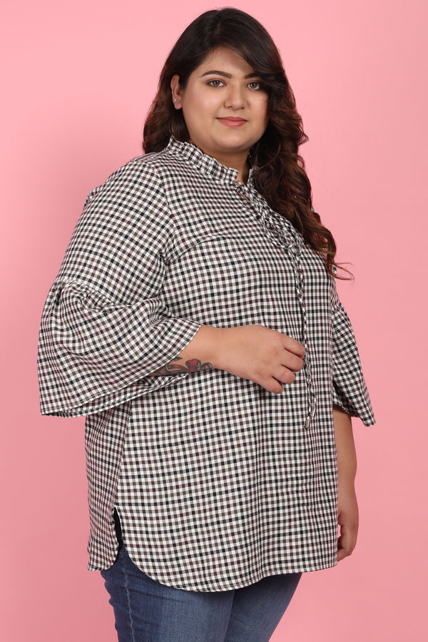 Brown Check Mandarin Collar Tie Neck Top