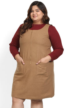 Camel Brown Zipper Warm Sleeveless Dress