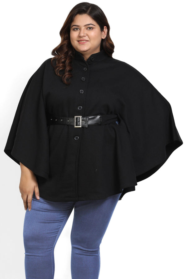 Black Belt Detail Poncho