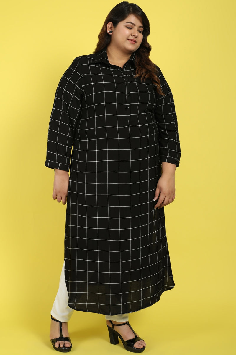 Black White Check Roll Up Sleeve Round Hemline Kurti