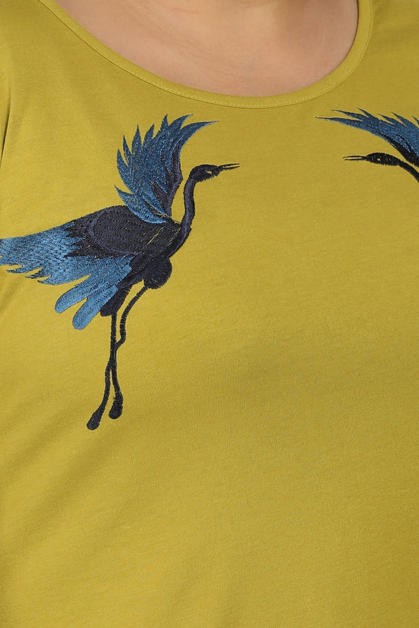 Olive Bird Embroidery Rounded Hemline T Shirt