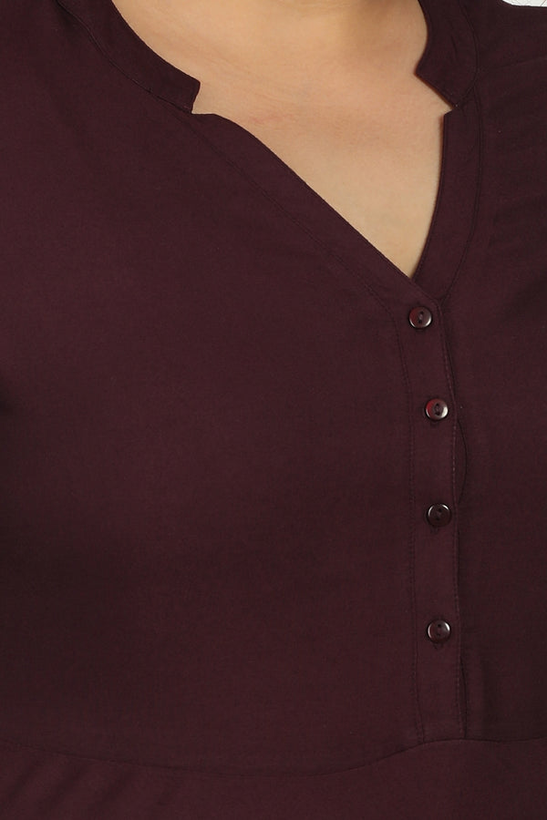 Plum Solid Peplum Top