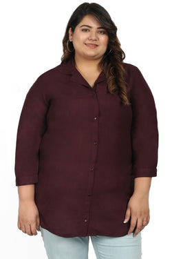 Plum Basic Cuban Collar Shirt