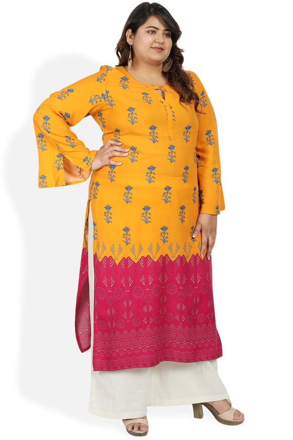 Yellow Pink Printed Bell Sleeve Kurti