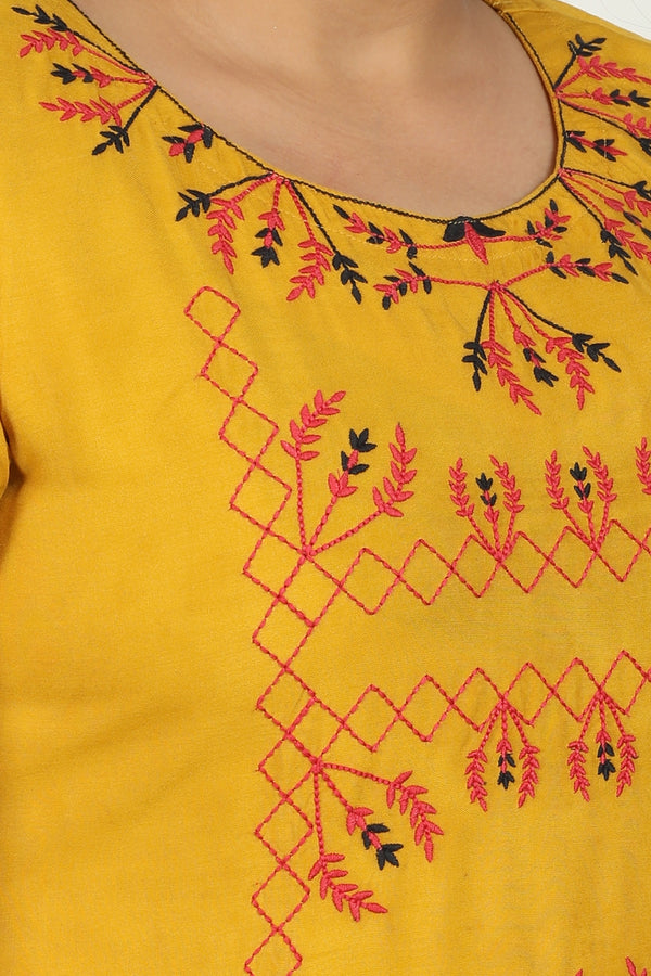 Mustard Red Embroidery Kurti