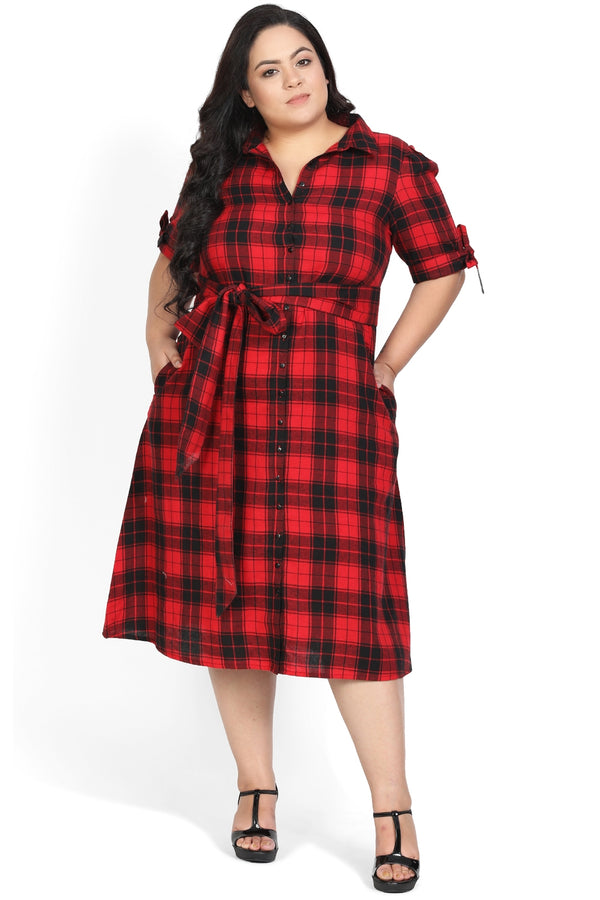 Red Black Check Waist Tie Dress