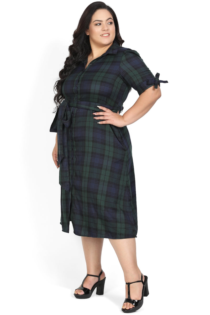 Green Navy Check Tie Detail Dress