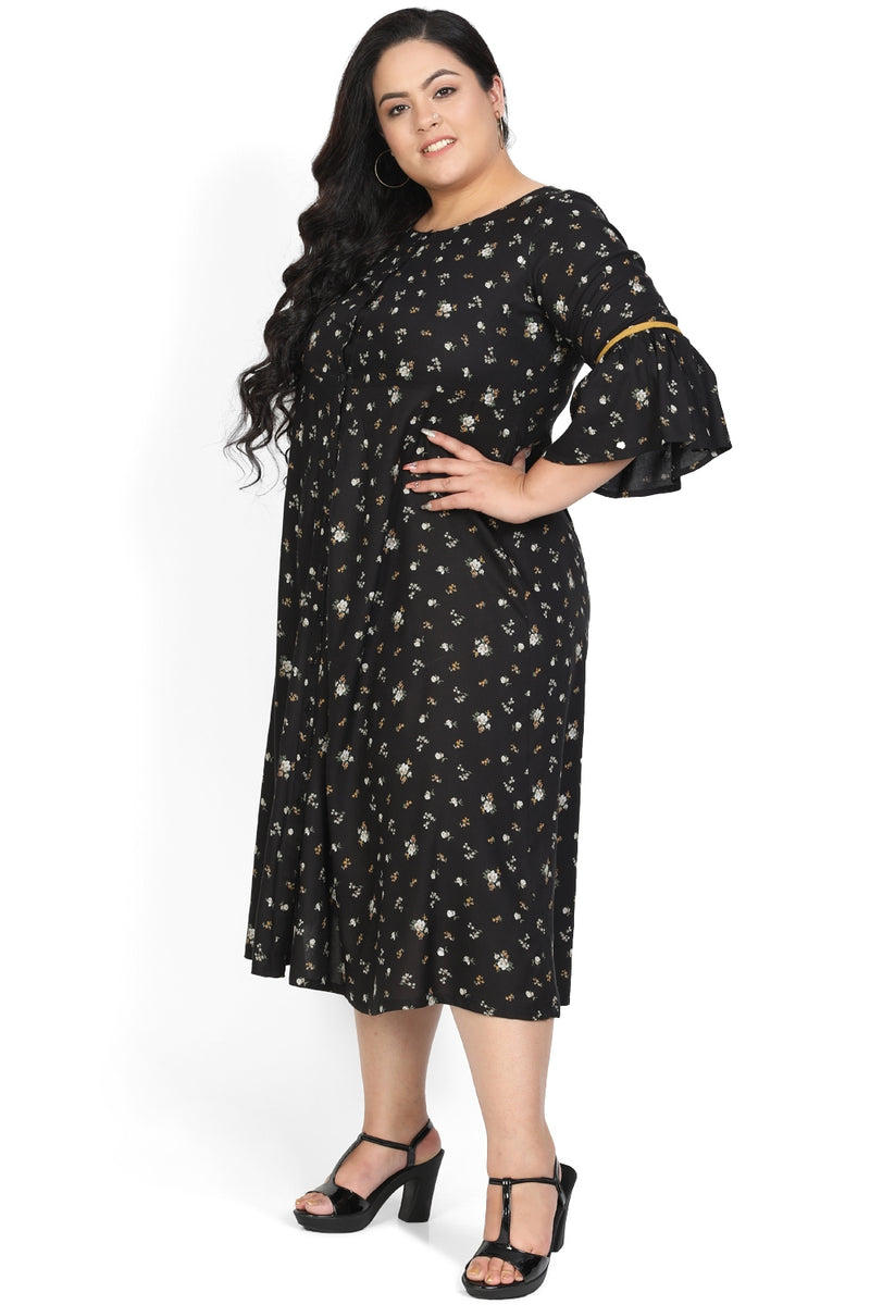 Black Flower Printed A-Line Tunic