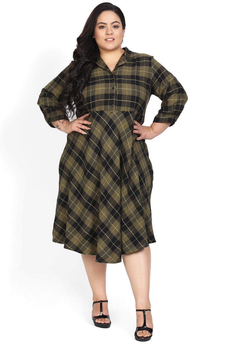 Olive Check Cuban Collar Dress