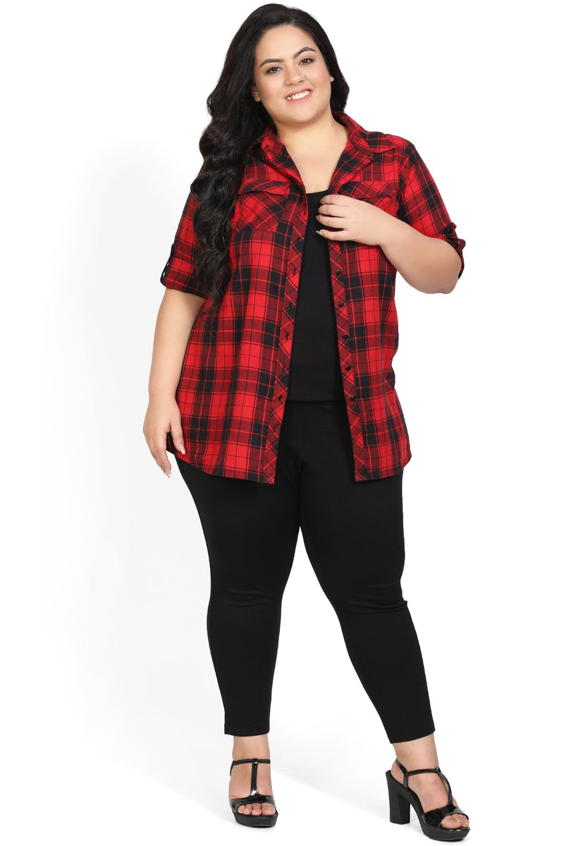 Red Black Check Shirt