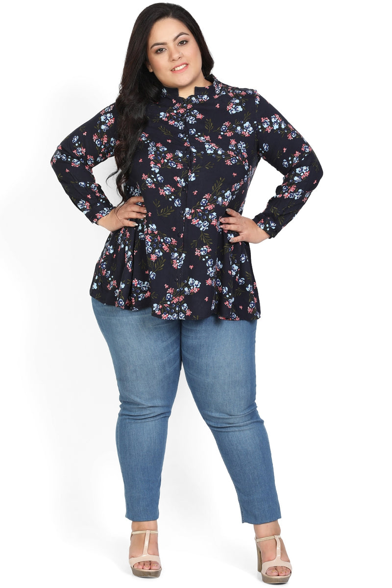 Navy Floral Printed Button Down Peplum Shirt