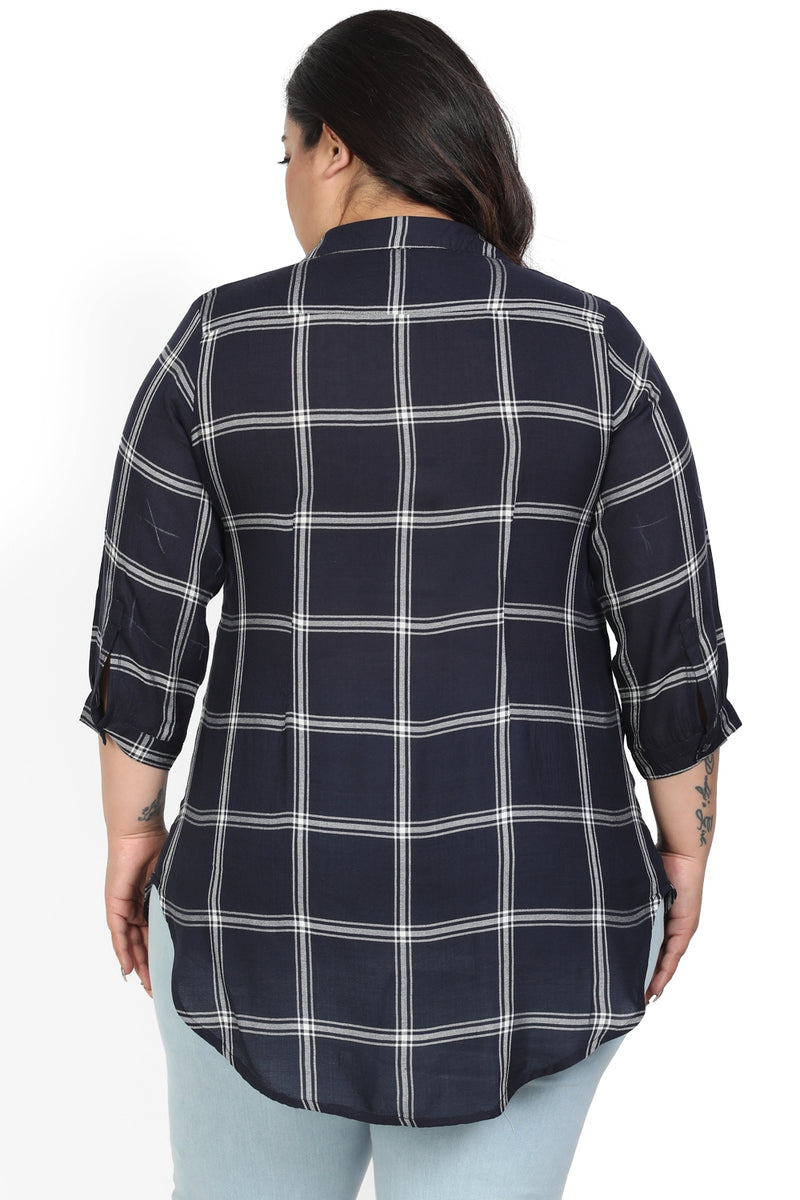 Navy Check Center Pleat Collar Top