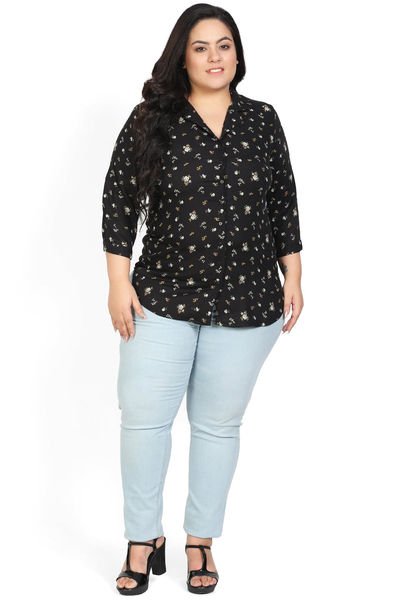 Black Floral Cuban Collar Shirt
