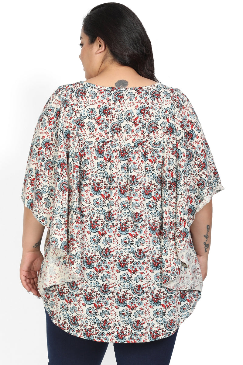 Cream Floral Kaftan Sleeve Top