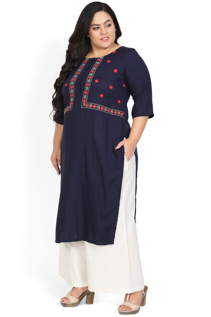 Navy Jacket Style Embroidered Kurti