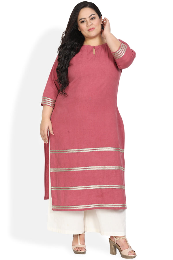 Cedar Pink Golden Tape Detail Kurti