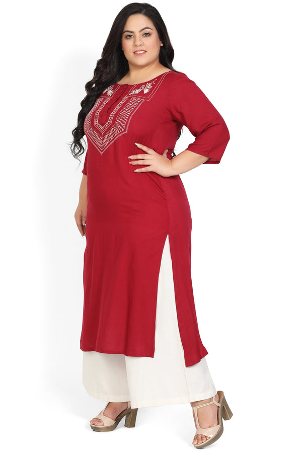 Chilly Red Embroidery Detail Front Slits Kurti