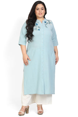 Ice Blue Embroidered Front Open Kurti