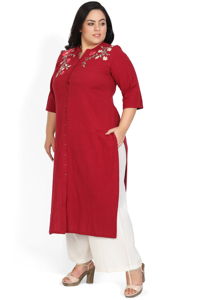Chilly Red Embroidered Front Open Kurti