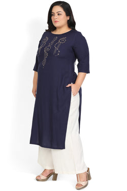 Navy Beige Yoke Embroidery Kurti